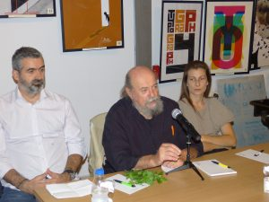 Τα παρόντα μέλη της κριτικής επιτροπής (από αριστερά): Αλέξανδρος Κοκκόλας, Σπύρος Ορνεράκης, Λίλα Καλογερή.